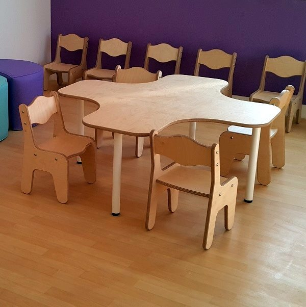Moon Kids Furniture School Nursery Wooden Plus Table Chairs 8