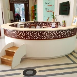 moon kids furniture reception desk with steps