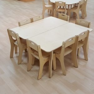 moon kids furniture rectangular table with wooden legs set