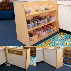 moon kids furniture shelving unit with magnetic board