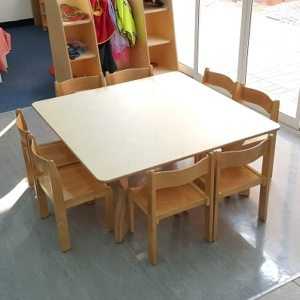 moon kids furniture square table and 8 chairs set