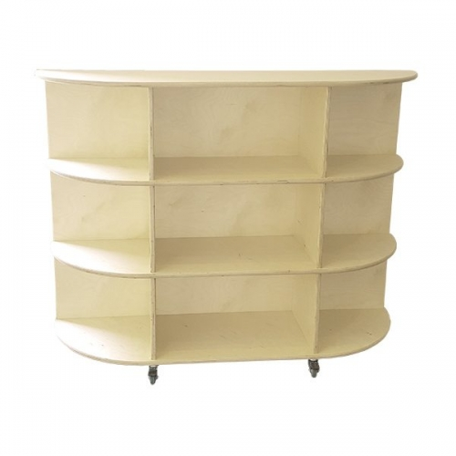 moon kids furniture rounded end shelving unit with wheels