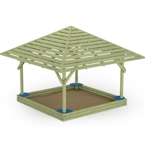 Log Sandbox with Seats and Shadow Roof