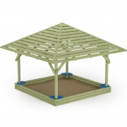 Log Sandbox with Seats and Shadow Roof 2
