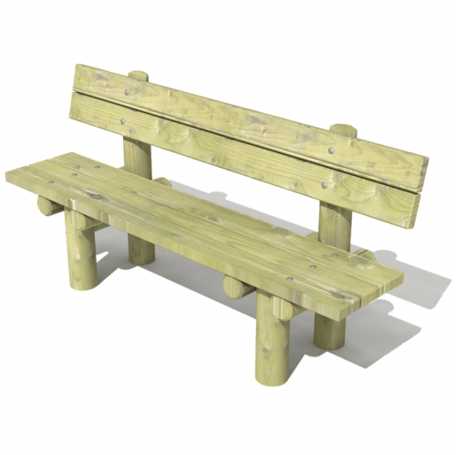 Stationary Log Bench with Backrest