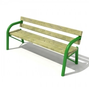 Stationary pipe bench with backrest 2
