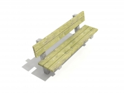 Bench on concrete frame with backrest 4