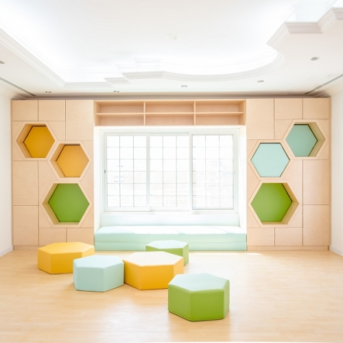 Moon Kids Bespoke Hexagonal Wall Shelving Unit
